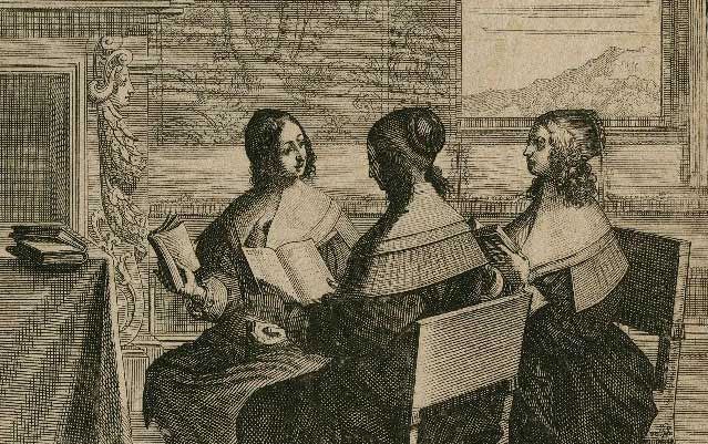 Three renaissance women read and study together
